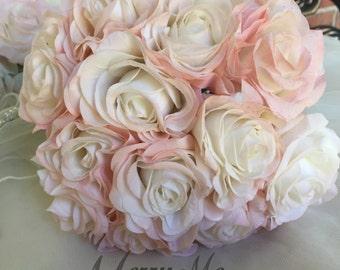 Blush Rose Bouquet , Rose Bouquet , Tea Rose Bouquet , Real Touch Rose Bouquet , Real Touch Roses Bouquet , Bridesmaid Bouquet