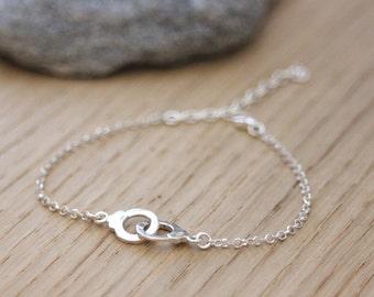 Silver handcuffs bracelet - minimalist silver bracelet - fine silver bracelet - bracelet 50 shades of grey - women silver bracelet