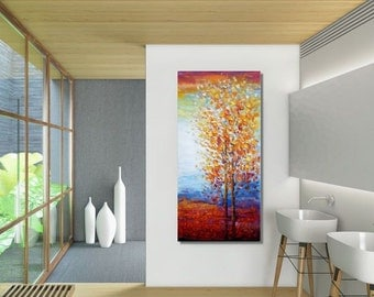 Large Canvas Painting, Abstract Painting, Canvas Art, Tree Painting, Abstract Art, Oil Painting, Landscape Art, Large Art, Wall Art Canvas