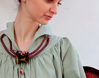 Gypsy jewelry, Boho Collar Look!  Bib-Necklace, Combined Beautiful Pendant by India - Tribe & Bedouis embroidery, Necklace from  Middle East
