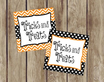 Tricks and Treats Gift Tags, Favor Tags, Treat Tags. Halloween Treat Tags Orange and Black Halloween Tags. Instant Digital Download.