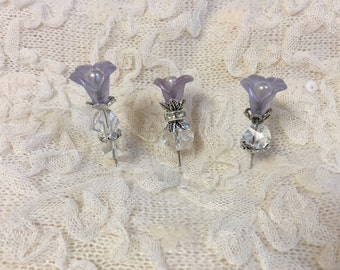 "Handmade lilly flower, and crystal beads. decorative stick pins. 2"", 3 pack"