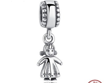 Winter Collection 925 Sterling Silver Silver My Little Girl Pendant Charm Fit Bracelet PANDORA ,Pandora Charm, Anniversary Gift for Her