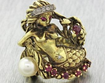 1970s Vintage Estate 14k Solid Yellow Gold Diamond Pearl Ruby Mermaid Ring