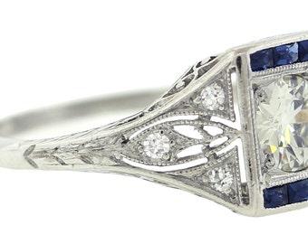 1920s Antique Art Deco Platinum .60ct Diamond & Sapphire Engagement Ring