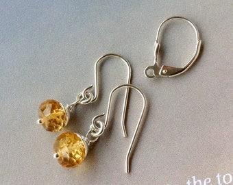 Petite Golden Citrine Earrings,  Sterling Silver,  November birthstone, citrine  roundelle earrings, yellow gemstone, natural gemstone