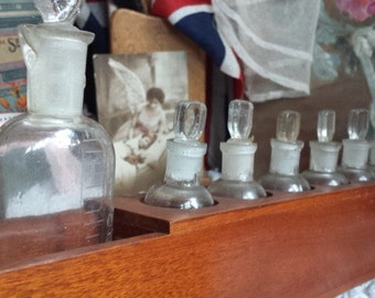 8 Vintage Apothecary Bottles with Glass Stoppers and Wooden Stand Pharmacy Medical