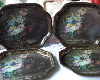 4 lovely Vintage Small Toleware Trays Classical Rose Bouquet Vase