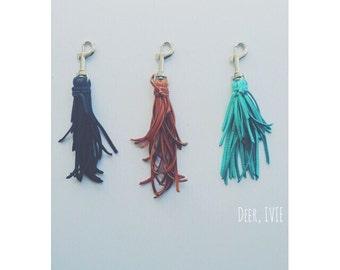 A N S L I E | Fringe Keychain | Tassle Keychain | Leather Keychain