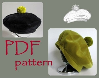 Kids Pom Beret Hat PDF Sewing Pattern/ sizes 6m to 12y/ Baby Girl's Tam Hat/ Printable pattern