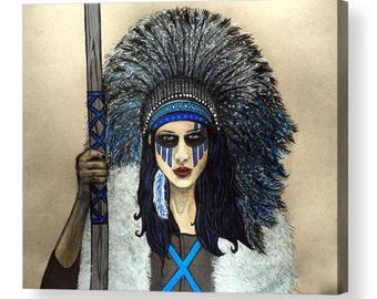 ACRYLIC PRINT* Native Warrior Goddess High Quality Acrylic Print, Original Drawing, Wall Art Decor