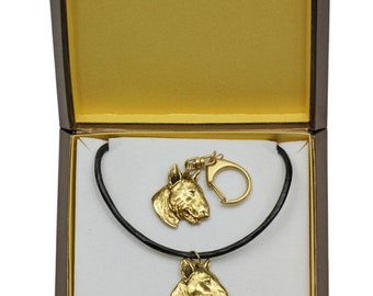Bull Terrier, dog keyring and necklace in casket, gold plated, limited edition, ArtDog