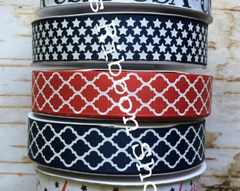 "7/8"" Patriotic God Bless USA America Stars Quatrefoil USDR grosgrain ribbon"