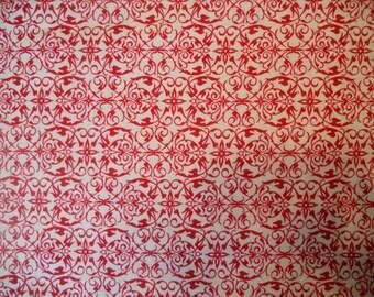 Joyeux Noel. Joyeux Noel by Studio Frivolite.  Pattern 2990. Red and cream quilt fabric.  100% cotton quilt fabric. 1 yard units.