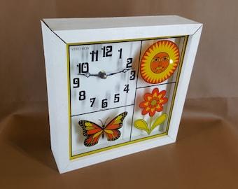 Retro box clock by Verichron mod sun butterfly and flower