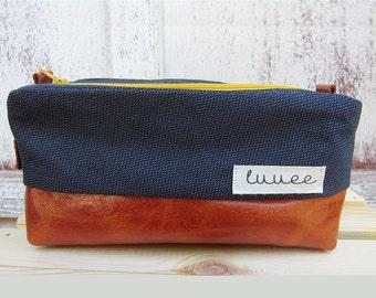 Toiletry Bag/Dopp Kit/Travel Bag/Dopp Bag/Leather Dopp Bag/Shaving Bag/Mens Toiletry Bag/Shaving Kit/Tan Leather/Blue Bag/Groomsmen Gift