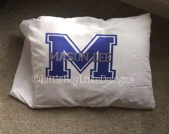 Masculine Monogram - Pillowcase for Boys - Sporty Pillowcase - Varsity Pillowcase - Boy Pillowcase