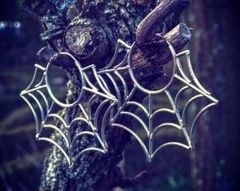 Sterling Silver Spiderweb Hoop Earrings