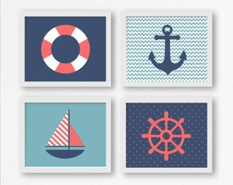 Sailing Prints: Sailboat, Wheel, Anchor, and Life Saver Printable Digital Wall Art, Nautical Nursery, Kid's Room Decor, Gift for Sailor