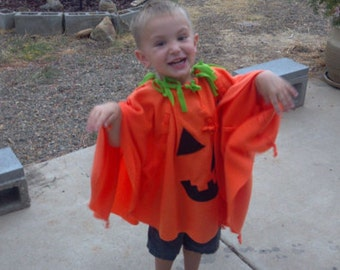 Pumpkin Costume Monster Costume Poncho Costume Mikey Costume - Children Toddler Petite Adult Fleece Poncho - MADE TO ORDER