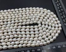 7-8mm Freshwater Rice Pearl,White Oval Pearl,High Luster Pearl Strand,Wedding Bridal Pearl Jewelry,Wholesole Loose Pearl Beads P4375719.5