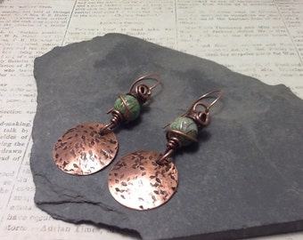 Copper dandle earrings with cloisonne beads