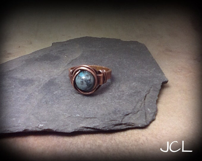 Unisex Copper ring, Copper wire wrapped ring with chinese turquoise