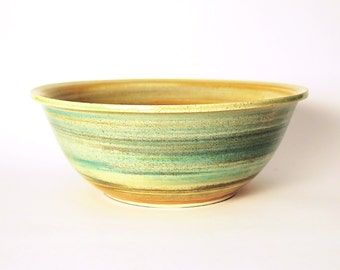Colorful Handmade Clay Serving Bowl, Large Stoneware Pottery Bowl, Handmade Kitchenware dish
