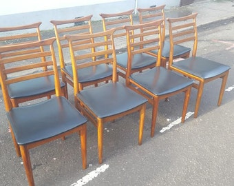 Set of Four or Eight Erling Torvits style 1960s Teak Dining Chairs. Vintage/Retro/Mid Century.