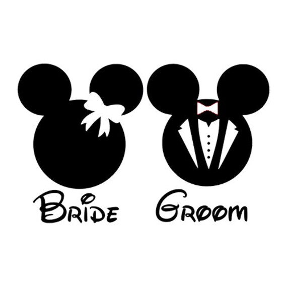 disney s mickey  minnie bride   groom svg digital file by Mickey Mouse Outline Clip Art Mickey Mouse Ears Outline