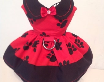 Red and Black paw print harness dog  dress.