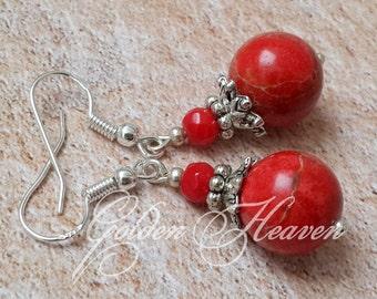 Red Coral Earrings Round red earrings Red Jasper Earrings Jasper and coral earrings red gemstone earrings 925 Sterling Silver hooks