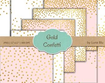 """Gold Confetti Digital Paper: """"Blush White and Gold Confetti"""" Blush and Gold, Blush White and Gold Foil Scrapbook Paper, Gold Confetti"""