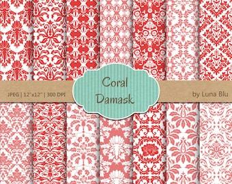 """Damask Digital Paper: """"Coral Damasks"""" coral scrapbook paper, damask patterns, coral digital paper, for scrapbooking, cardmaking, invites"""