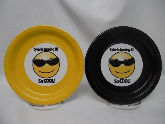 Yellow & Black Emoji Party Plates with Cool Sunglass Guy