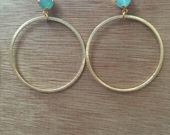 Gold Hoop & Crystal Earrings
