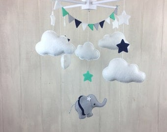 Baby mobile - elephant mobile - cloud mobile - bunting - navy and mint - elephant nursery - nursery decor - baby mobiles