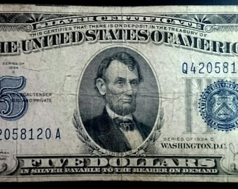 Vintage Solid Grade Circulated 1934 C Silver Certificate Five Dollar Bill Blue seal  banknote