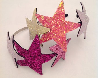 Triple Glitter Star headband, glitter hairband, star headpiece, party hair accessory, christmas star aliceband