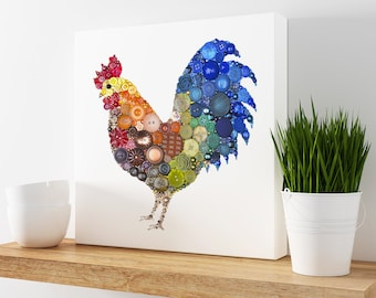 Rooster Canvas Print - 12x12 Canvas - Rustic Wall Hanging, Farmhouse Kitchen Decor, Rooster Wall Art Country Home Decor, Housewarming Gift