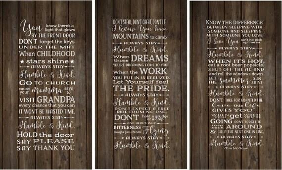 Always Stay Humble Amp Kind Lyrics Set Of 3 Wood Signs Canvas