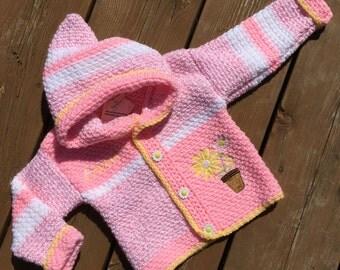 Crochet Baby Sweater, Handmade Flower Sweater, Baby Sweater, Girl Sweater - Size 2