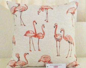 "Flamingo Cushion Cover 17"" x 17"" (43cm sq.) Cream Back"