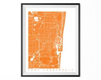 Fort Lauderdale City Map Art Print / Fort Lauderdale Poster / Fort Lauderdale Wall Art / Florida Gift/ Florida home decor