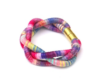 Colorful Fabric Braided Rope Bracelet, Textile Bracelet, Cotton Jewelry, Colorful Jewelry, Braided Bracelet, Cotton Bracelet, Cord Bracelet