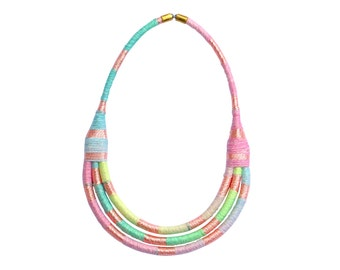 Statement Bib Necklace, Sorbet Colored Textile Necklace, Fabric Necklace, Spring Jewelry, Colorful Necklace, Rope Necklace, Fiber Jewelry