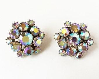 Aurora Borealis Earrings, Aurora Borealis Vintage, Bridal Earrings Vintage, Vintage Earrings, Crystal Earrings, Wedding Earrings, Cluster