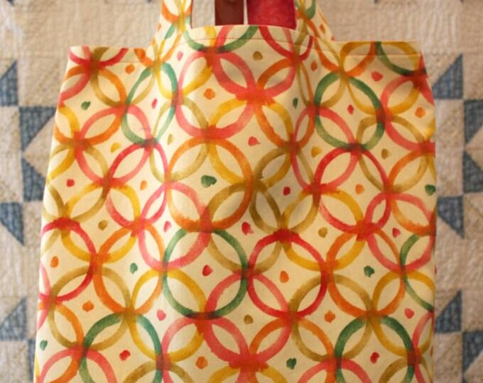 Orange Pink Green Circle Print Tote Bag Lined Reusable Bag. Large Canvas Purse. Diaper Bag. Beach Tote Computer Bag Trick or Treat Bag