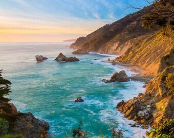California Beach Photo, Big Sur Print, Travel Photography, Aqua Blue, Ocean Photograph, Canvas Gallery Wrap, Pacific Coast Large Home Decor