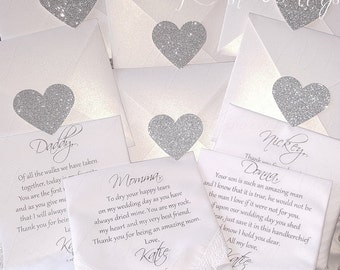 """4 SET Mom, Dad & In-Laws, Personalized """"Printed"""" Wedding Handkerchief """"SET"""".FREE Sparkling Gift Envelope. Gift for Brides Parents. Mom , Dad"""
